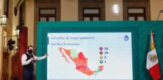 Diez estados en semáforo rojo; solo Campeche está en verde